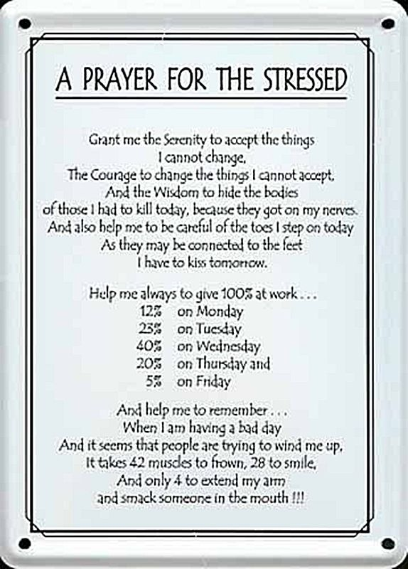 A Prayer For The Stressed metal postcard mini sign hi