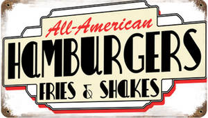 All American Hamburgers rusted metal sign (pst 148)
