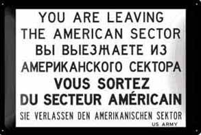 Berlin You Are Leaving US Sector embossed steel sign   (na 3020)