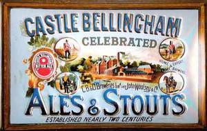 Castle Bellingham Ales & Stout embossed steel sign