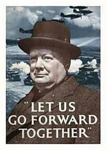 Churchill ''Go Forward'' steel fridge magnet