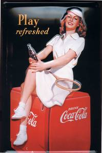 Coca Cola ''Tennis Girl'' embossed steel sign