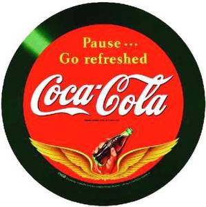 Coca Cola ''Wings'' round tin wall sign