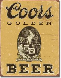 Coors Golden Beer weathered metal sign