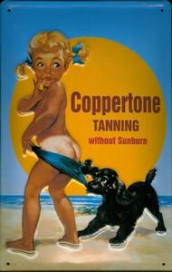 Coppertone Suntan metal postcard / mini sign   (hi pt)