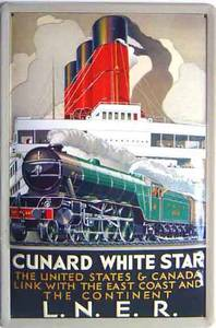 Cunard / LNER USA & Canada embossed steel sign