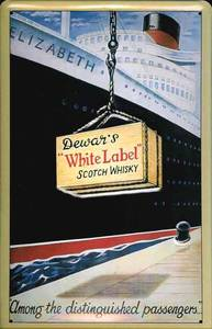 Dewars White Label / QE1 embossed steel sign