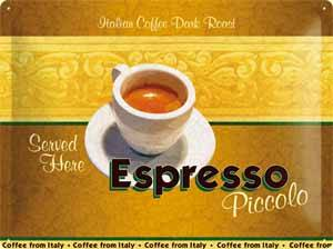 Espresso Coffee large embossed metal sign