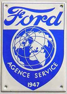 Ford Agence vitreous enamel steel badge (jj 1410)