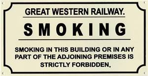 Great Western Railway GWR Smoking enamelled steel sign