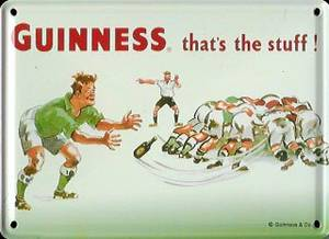 Guinness Rugby metal postcard/ mini sign    (hi)