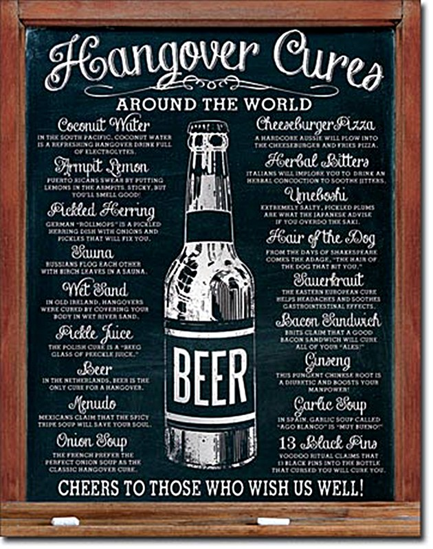 Hangover cures around the world funny metal sign de for Plaque metal cuisine