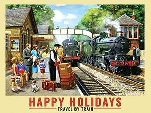 Happy Holidays Travel By Train Metal Sign 400mm x 300mm (og)
