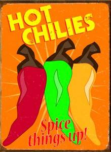 Hot Chilies Spice Things Up! metal sign