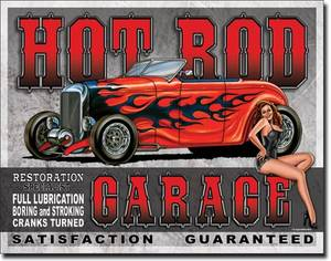 Hot Rod Garage (des) metal sign