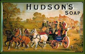 Hudsons Soap Horse & Carriage embossed steel sign