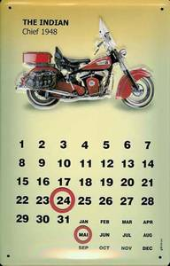 Indian Chief 1948 everlasting metal wall calendar