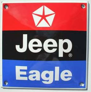 Jeep Eagle stove enamelled badge  REDUCED TO CLEAR