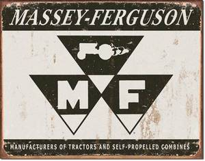 Massey Ferguson logo (grey) large weathered metal sign    (de)