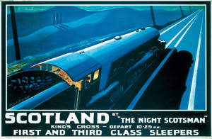 Night Scotsman (old rail ad.) mounted print  (se ls)