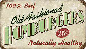 Old Fashioned Hamburgers rusted metal sign    (pst 148)