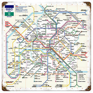 Paris Metro Map rusted steel sign 300mm x 300mm (pst)