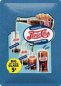 Pepsi Cola Big Glass embossed metal sign