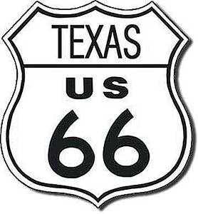 Route 66 Texas shield metal sign