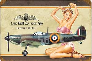 Spitfire PinUp weathered steel wall sign  (pst 1812)