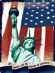 Statue of Liberty large embossed steel sign   (na 4030)