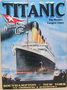 Titanic White Star Line large embossed steel sign