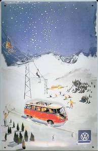 VW Minibus at ski resort embossed steel sign   (hi 3020)