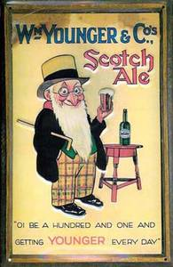 Youngers Scotch Ale embossed metal sign  (hi 2030 pt)