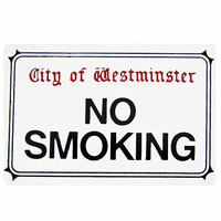 """NO SMOKING"" London Street Sign enamel fridge magnet (gg)"