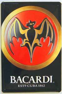 Bacardi Bat (portrait) embossed metal sign