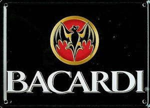 Bacardi (ls) miniature metal sign / metal postcard