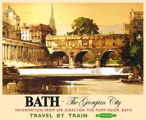Bath The Georgian City (old rail ad.) large steel sign 400mm x 300mm (og)