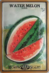 Burts Seeds - Watermelon embossed steel sign