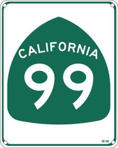 California Highway 99 aluminium sign