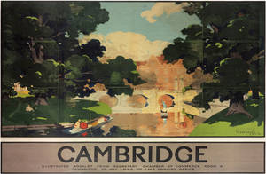 Cambridge Bridge (old rail ad.) mounted print