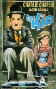 Charlie Chaplin The Kid embossed metal sign