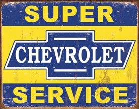 Chevrolet Super Service weathered metal sign