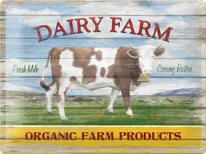 Dairy Farm embossed metal sign