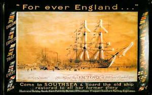 Forever England HMS Victory Southsea embossed steel sign