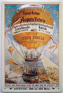 German Augusta Victoria Balloon embossed steel sign  HALF PRICE TO CLEAR