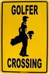 Golfer Crossing large aluminium sign
