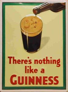 Guinness Face on Glass embossed steel sign     (hi 3020)