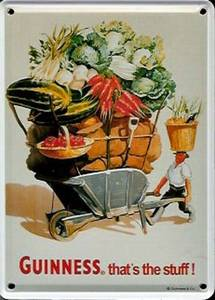 Guinness Wheelbarrow metal postcard / mini-sign