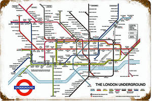 Easy London Map.London Underground Map Weathered Steel Sign 450mm X 300mm Pst