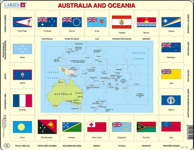 Map Of Australia Jigsaw Puzzle.Map Of Australia And Oceania With Flags Frame Board Jigsaw Puzzle